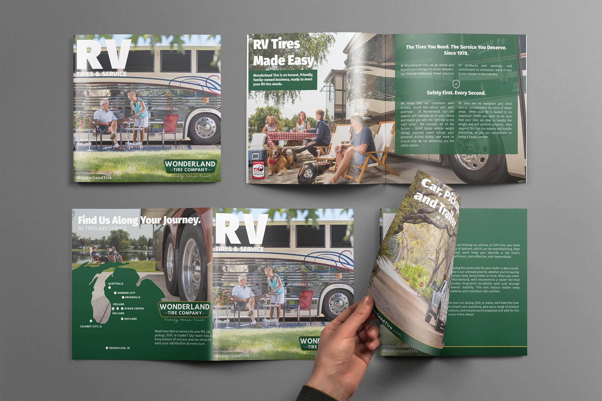rv brochure design for wonderland tire company in Grand Rapids michigan