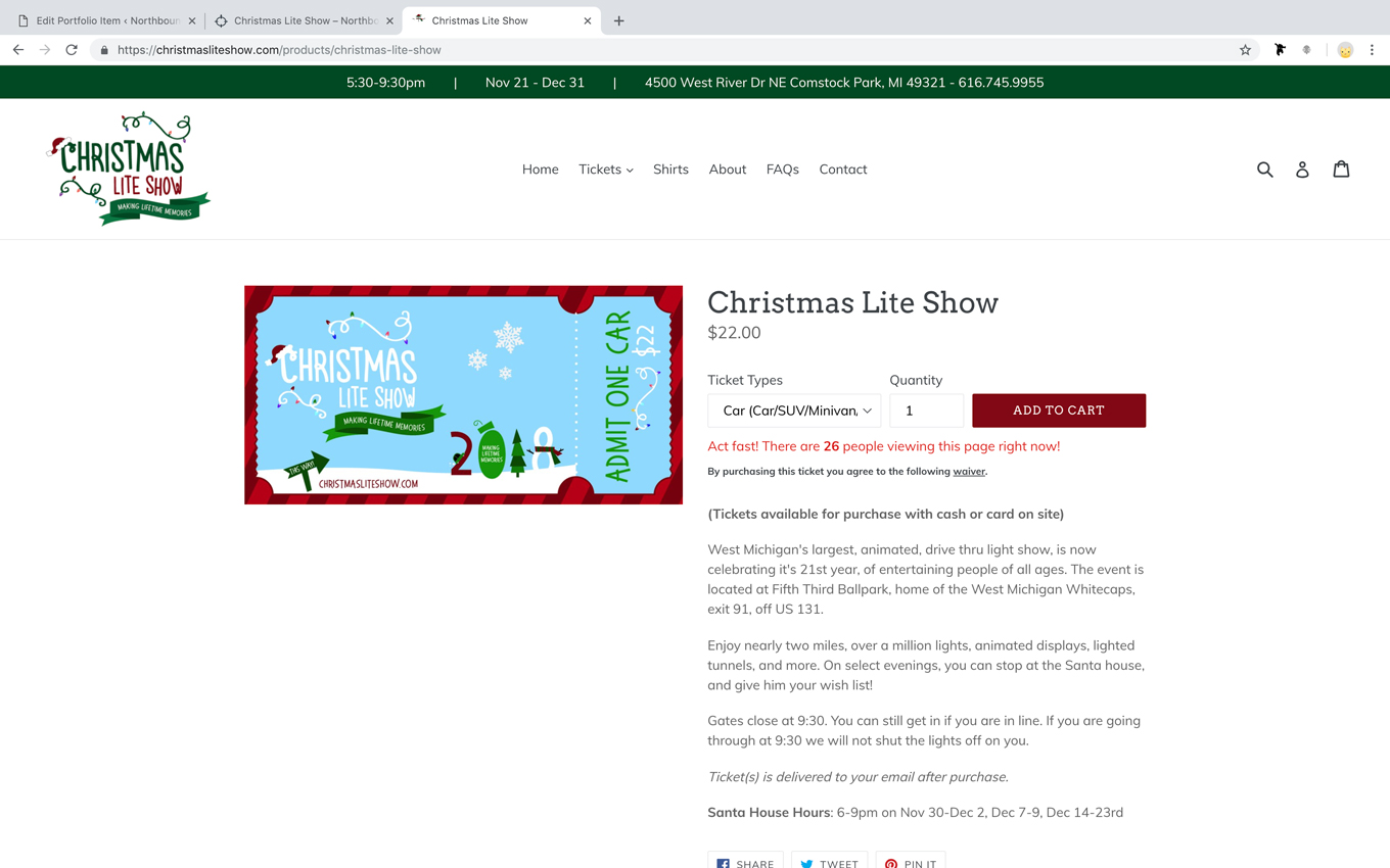 Christmas lite show ticketing event ecommerce website design Grand Rapids michigan