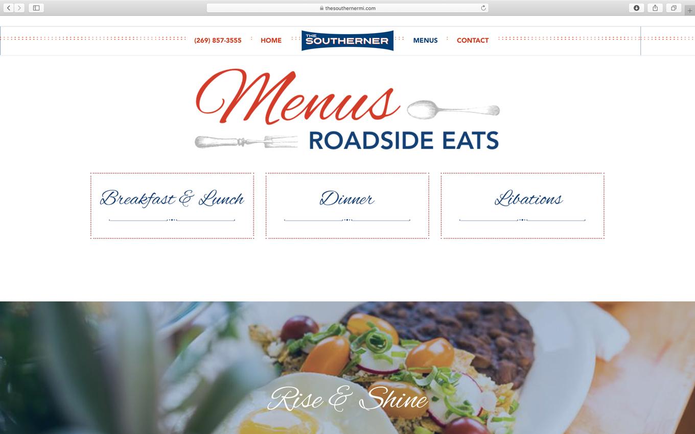 restaurant diner vintage website design with online menus for the southerner in saugatuck michigan