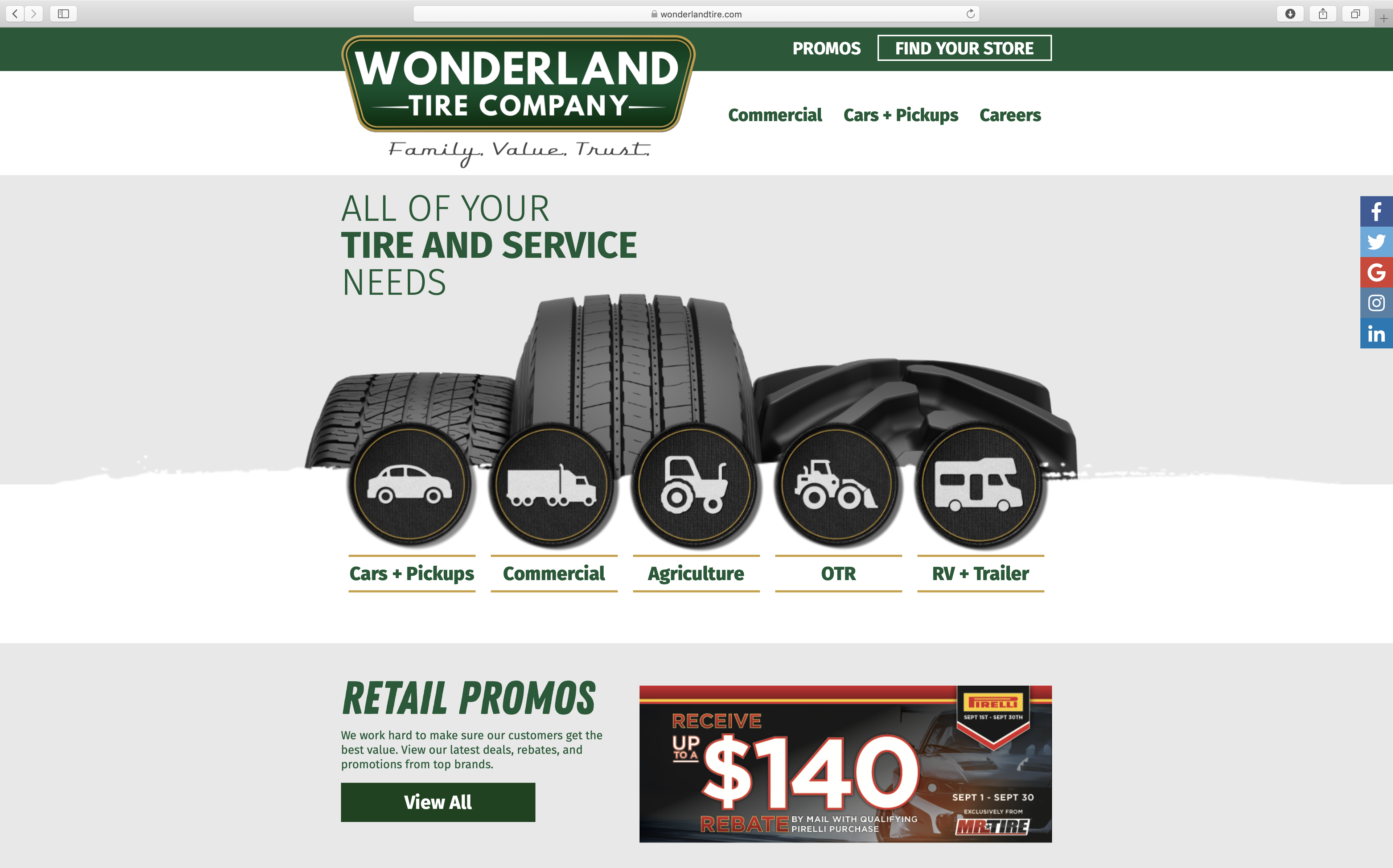 wonderland tire company homepage design with patches showing services for tire company in Grand Rapids Michigan