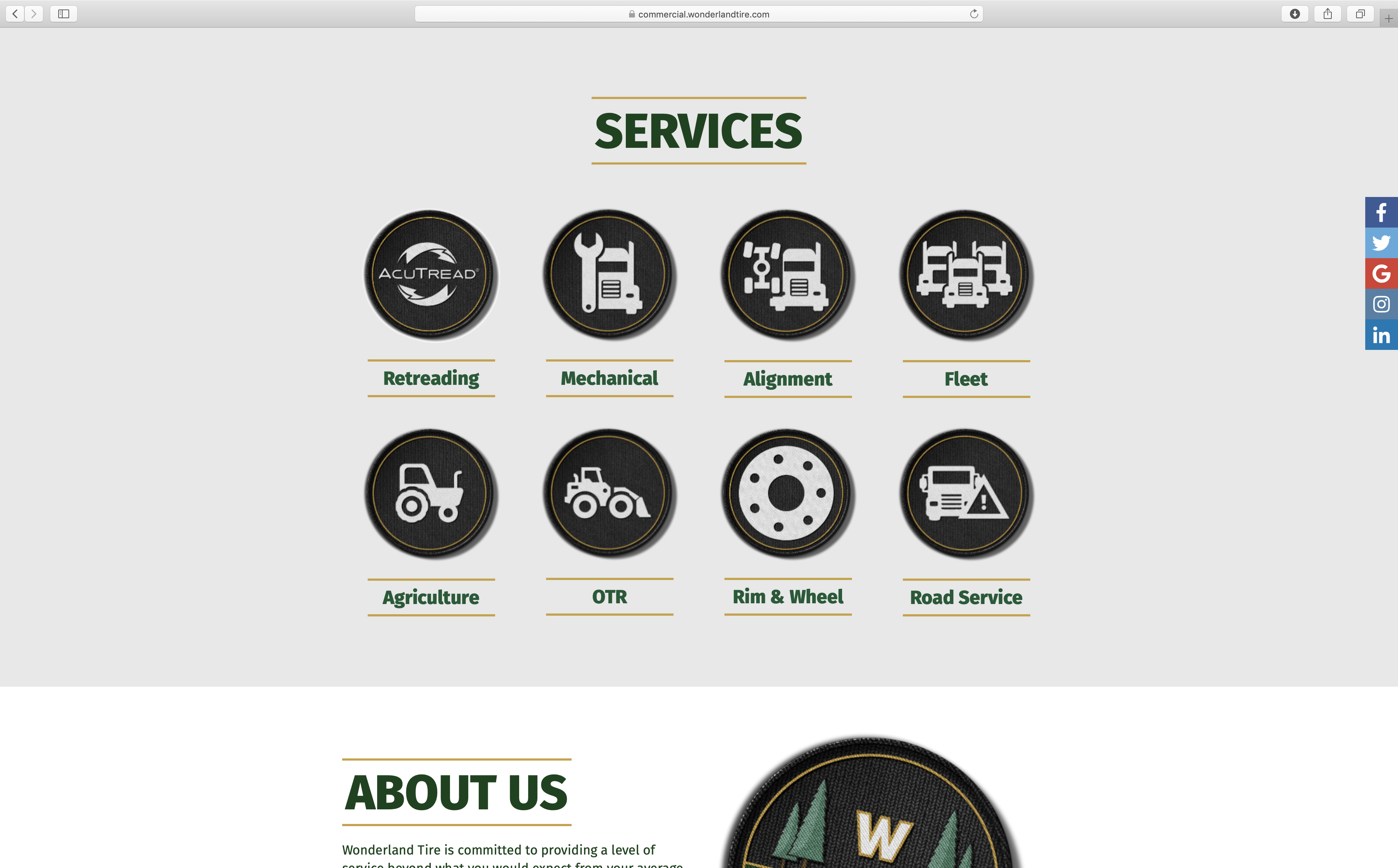 minimal wonderland tire website with services listed