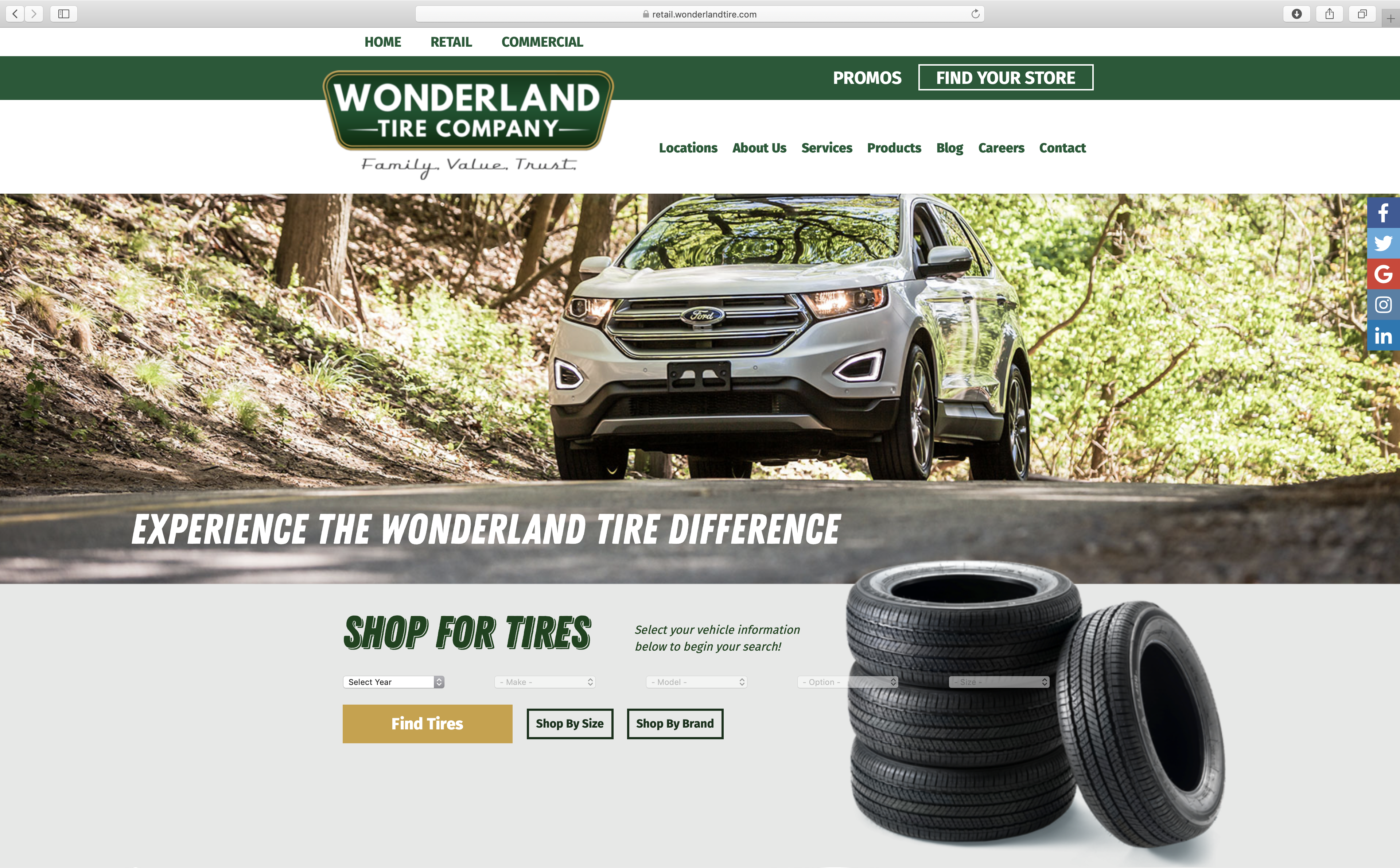 retail landing page with e-commerce for wonderland tire company
