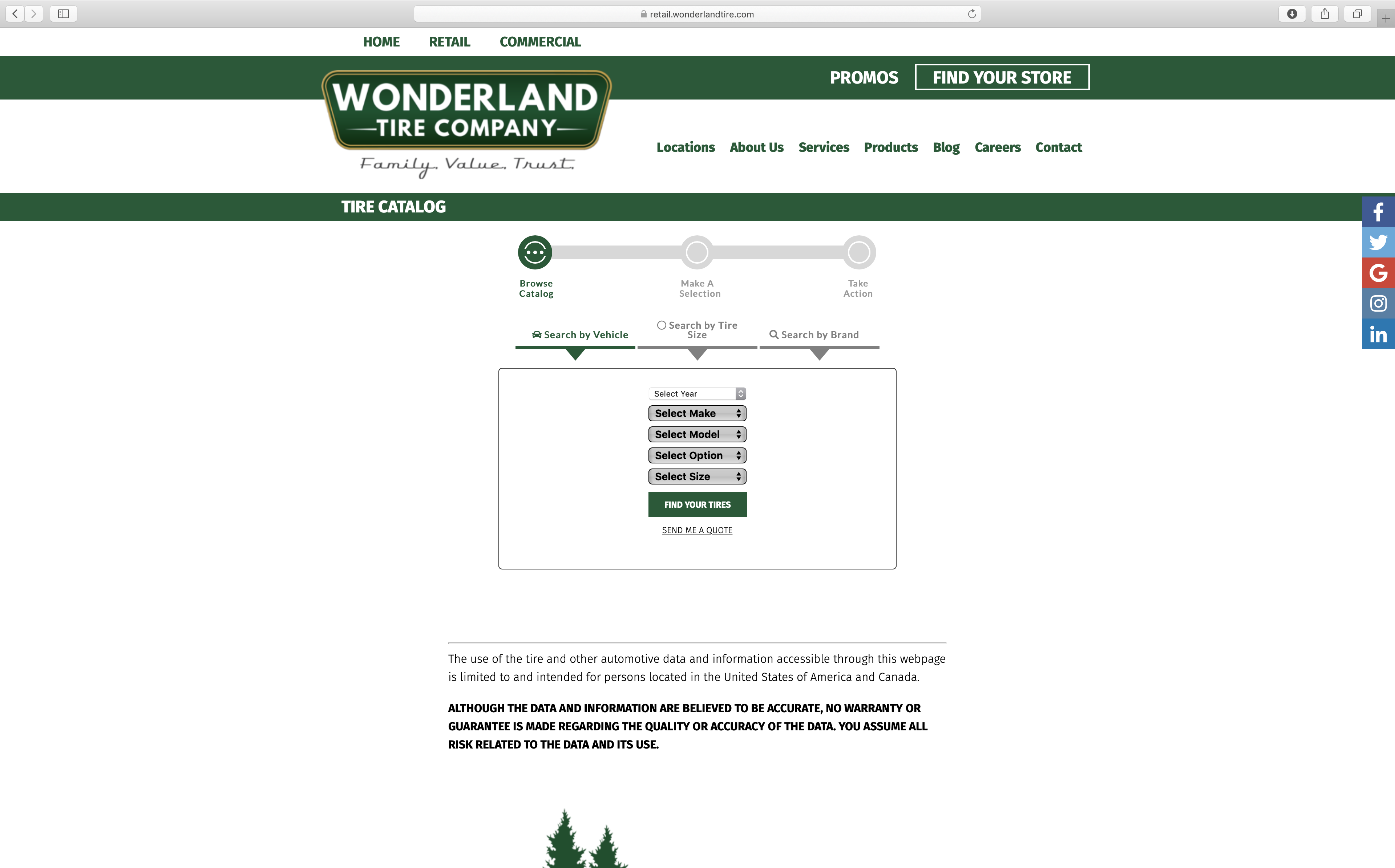 online tire catalog on wonderland tire website design