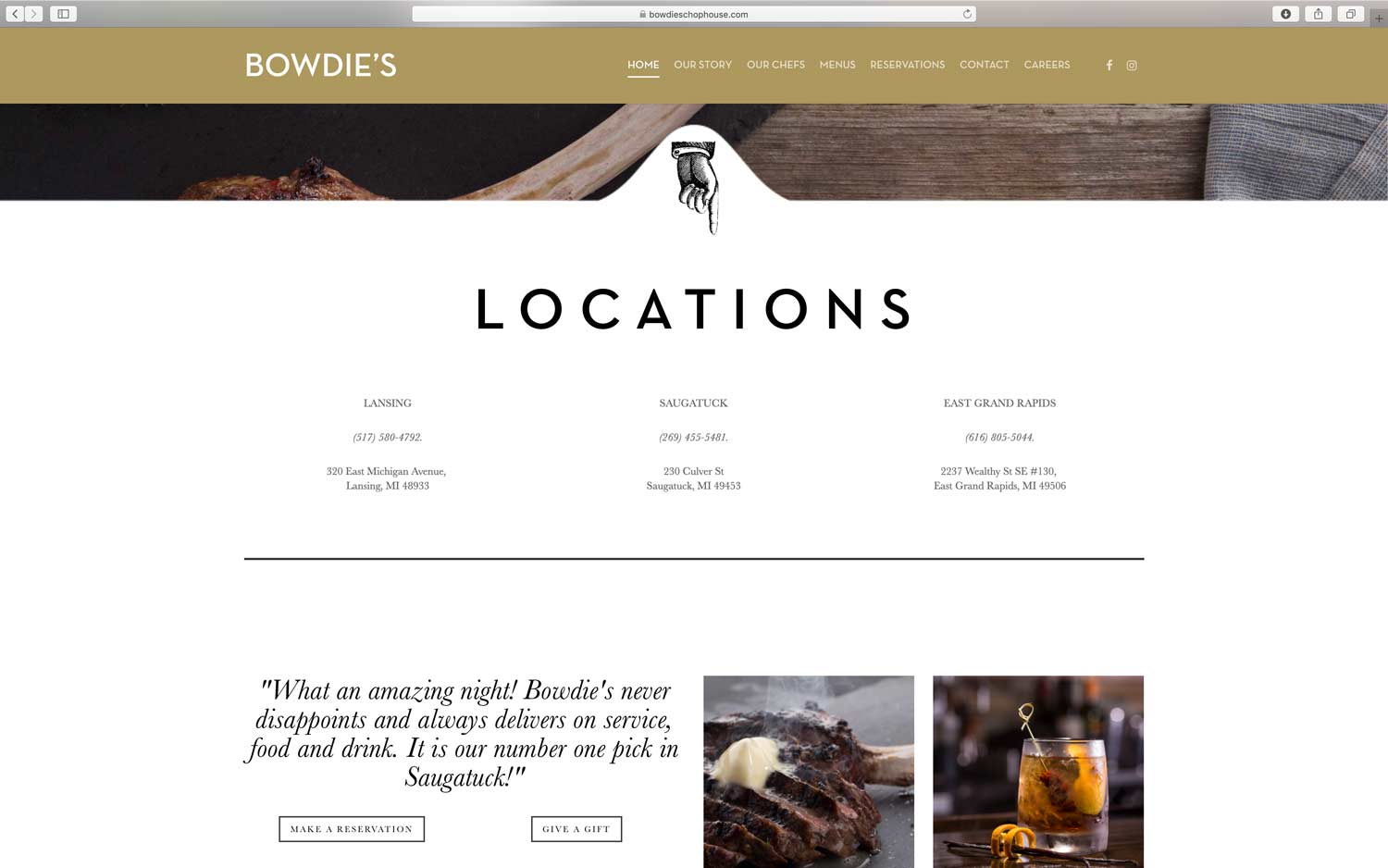 restaurant website design with multiple locations