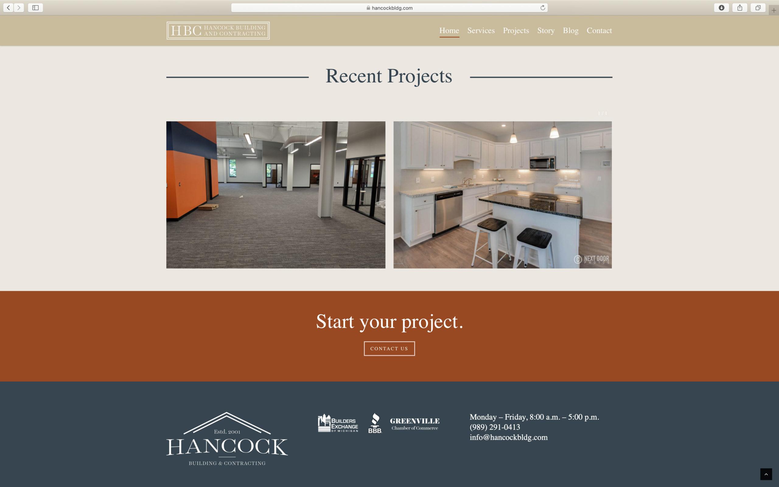 clean construction portfolio website design