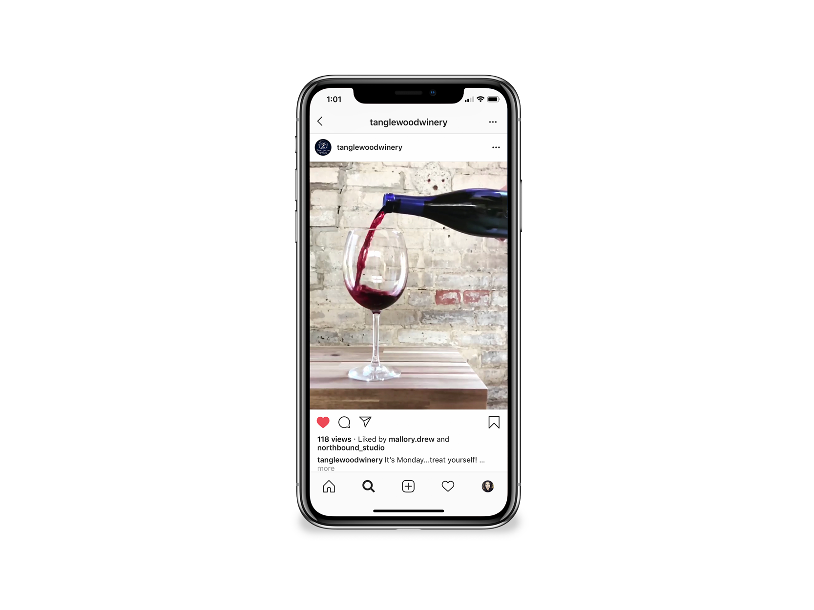 winery social media account with high-end wine photography