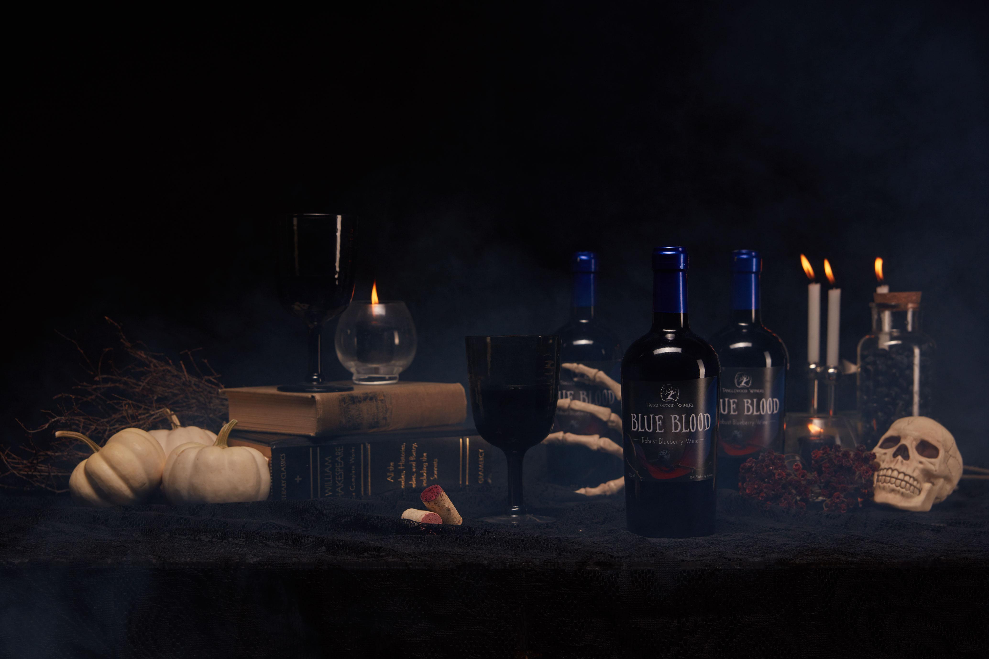 halloween themed wine photography