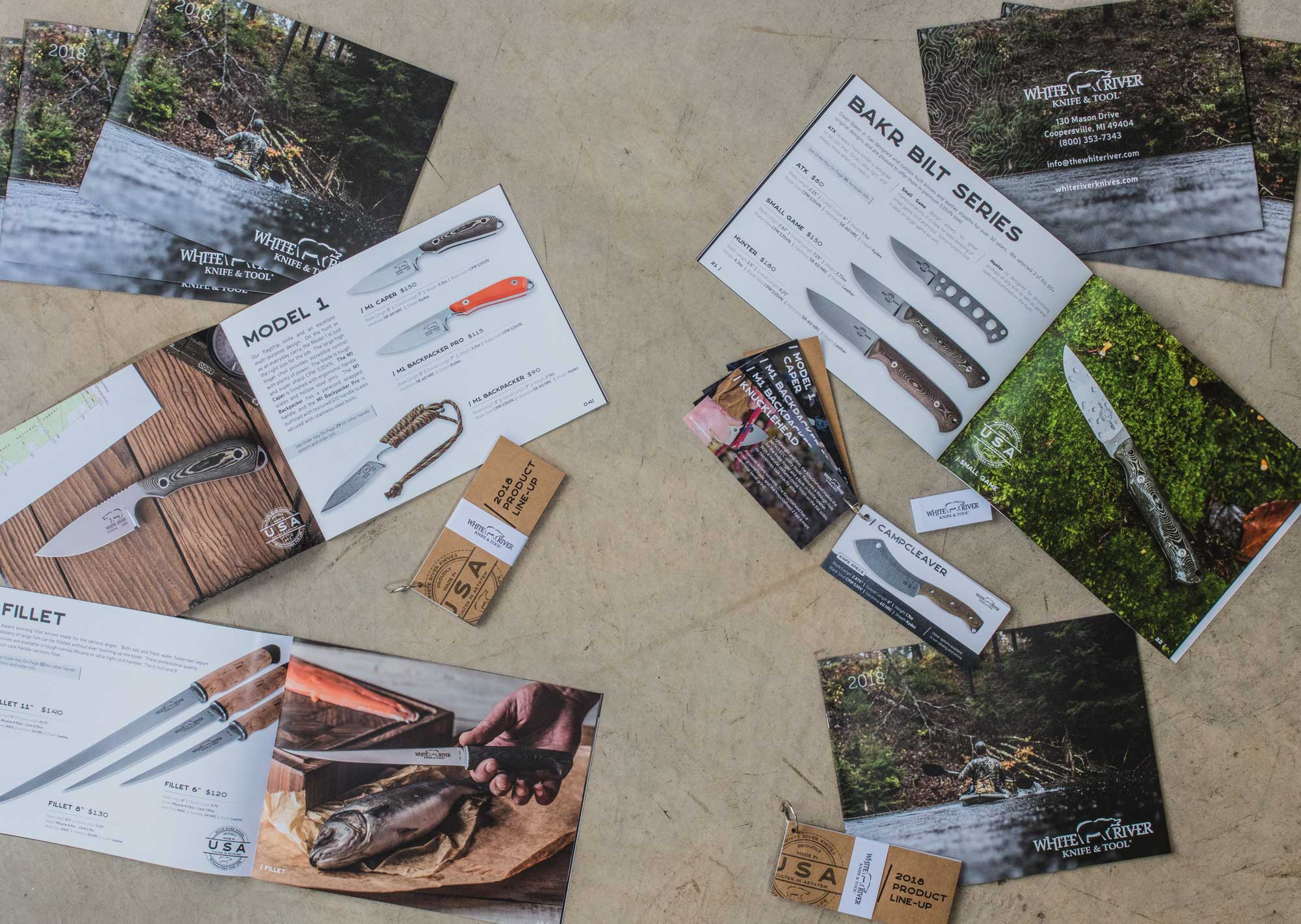 outdoors catalog and product card deck design