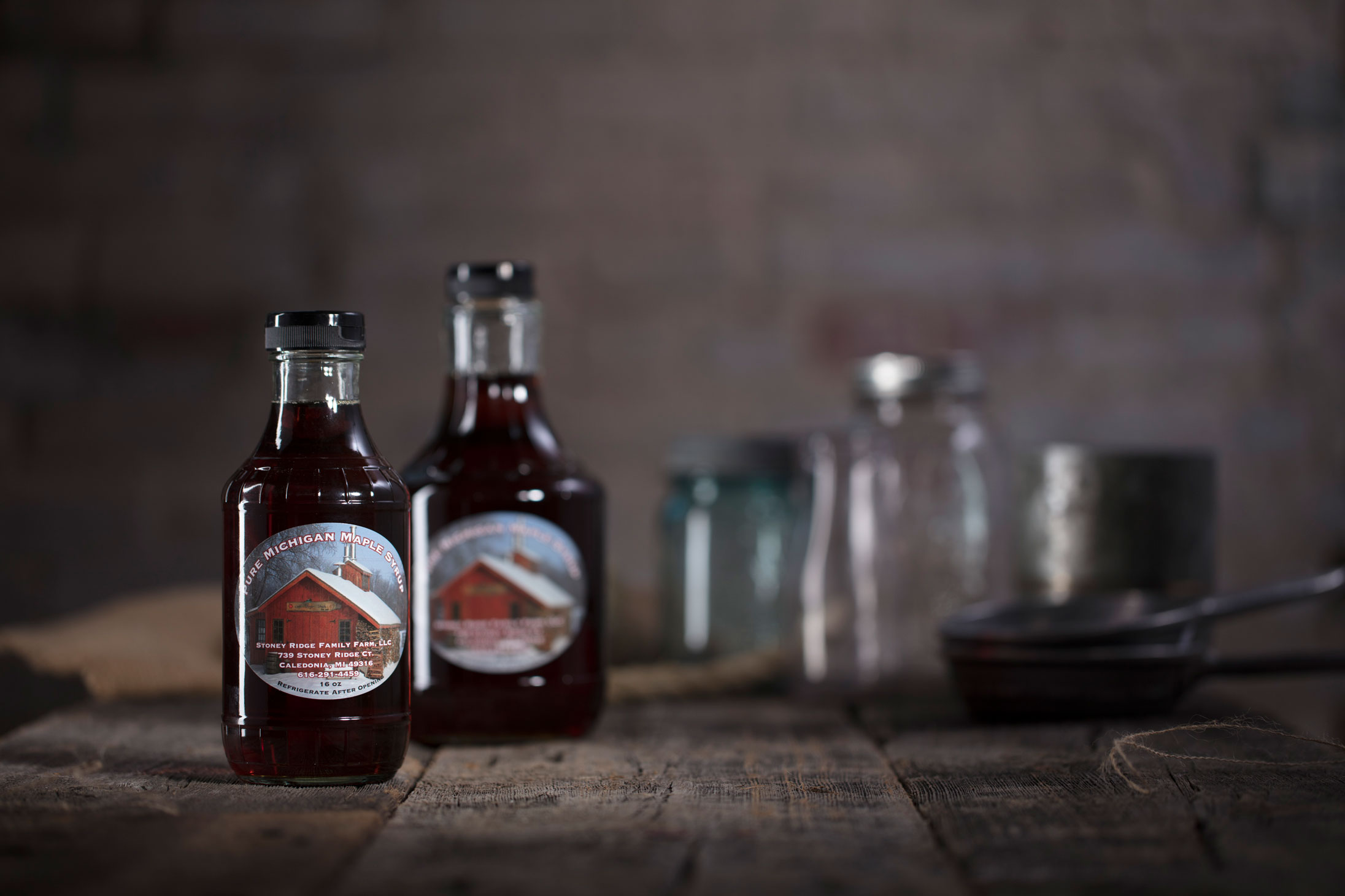 food photography syrup bottles