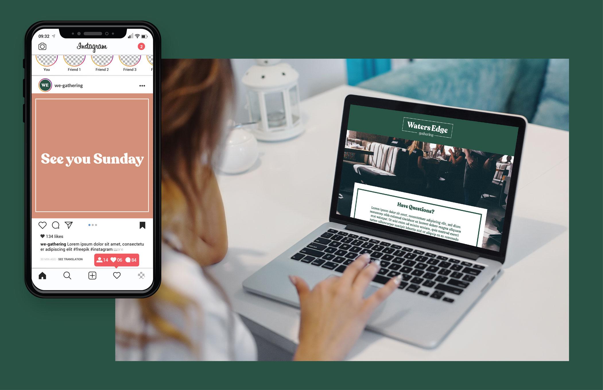 church branding design social media and website
