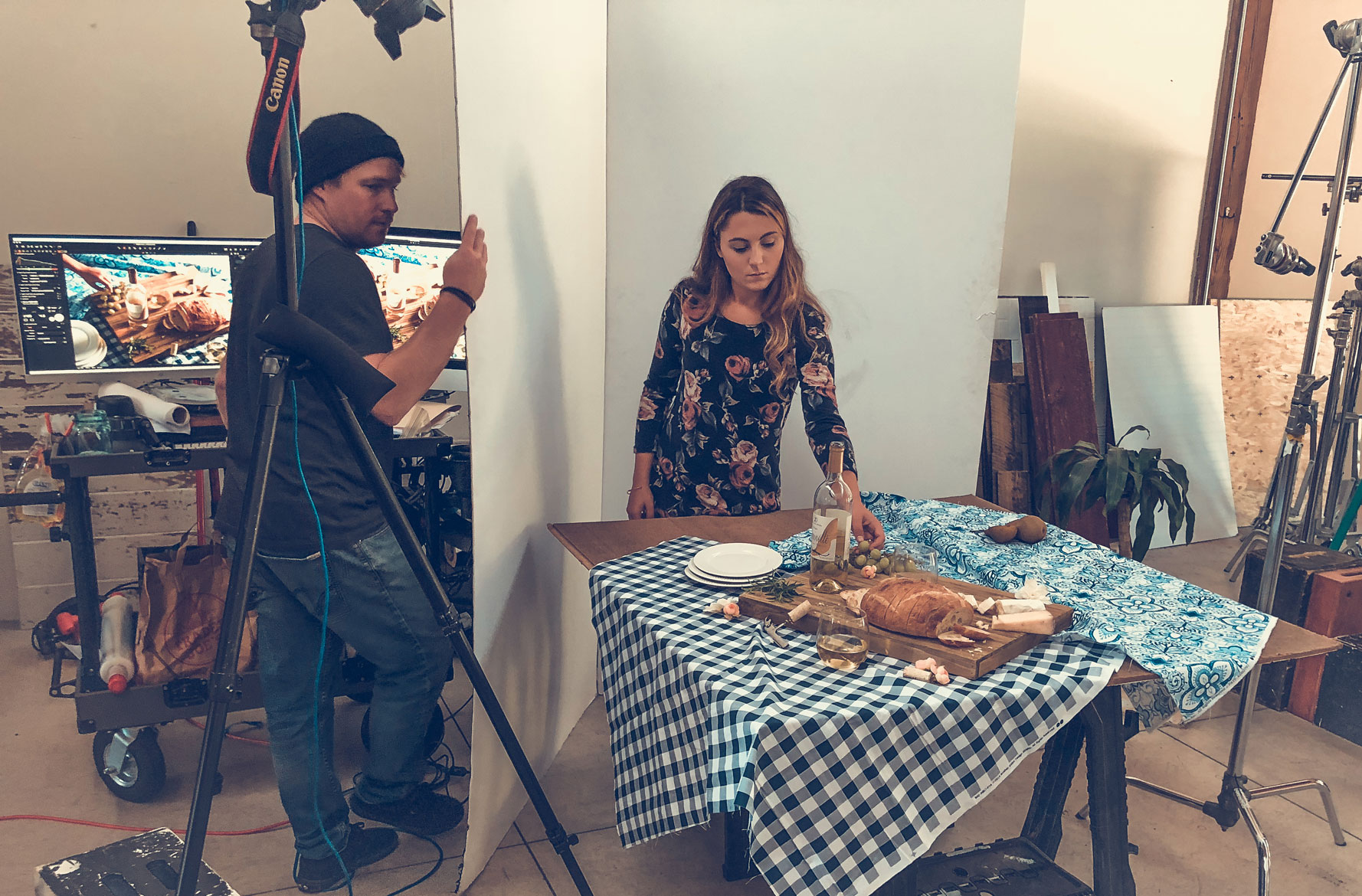 behind the scenes of food photo shoot in Grand Rapids michigan at northbound studio