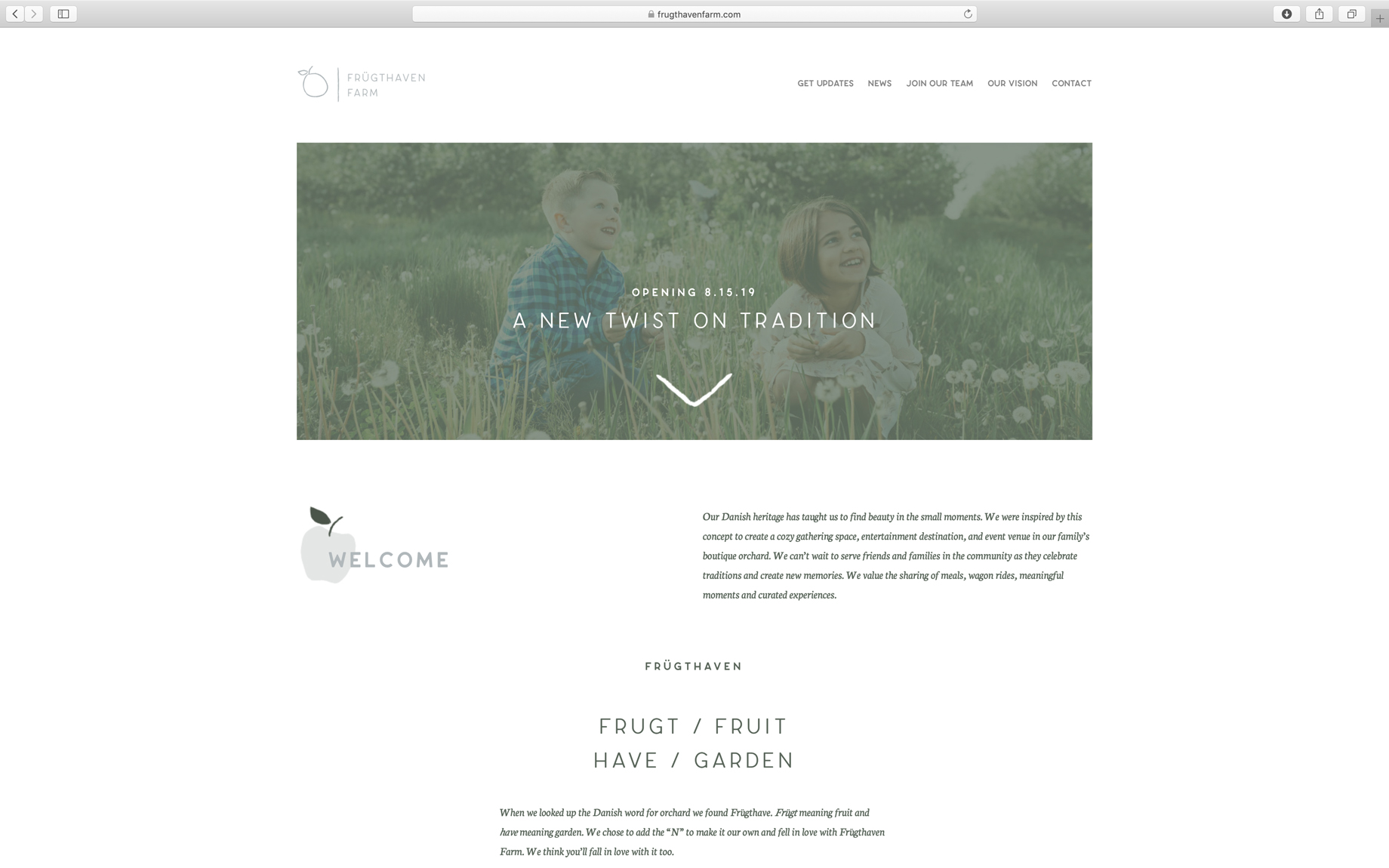 farm website home page minimal