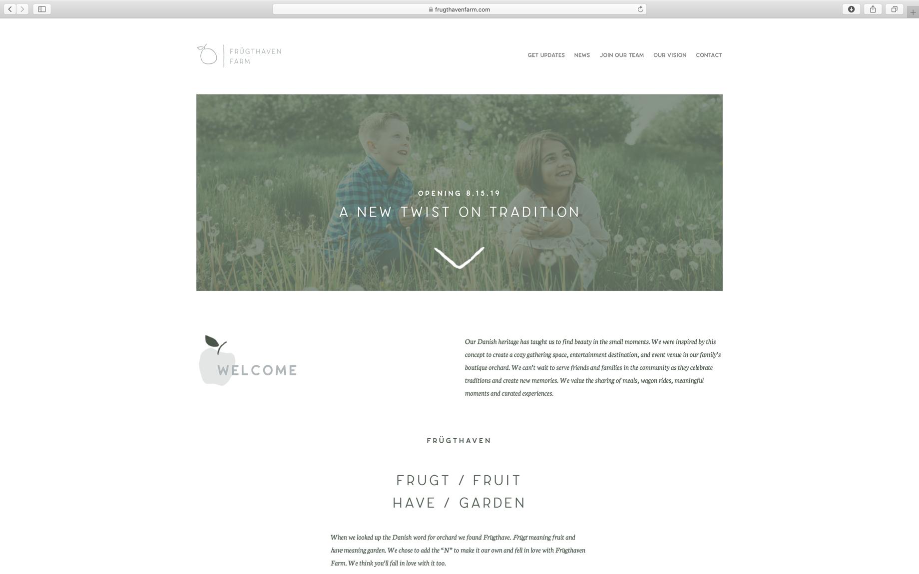 farm website home page minimal