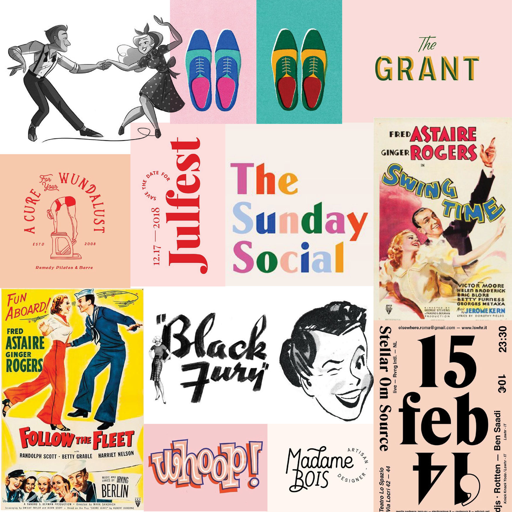 aesthetic vintage colorful dance mood board
