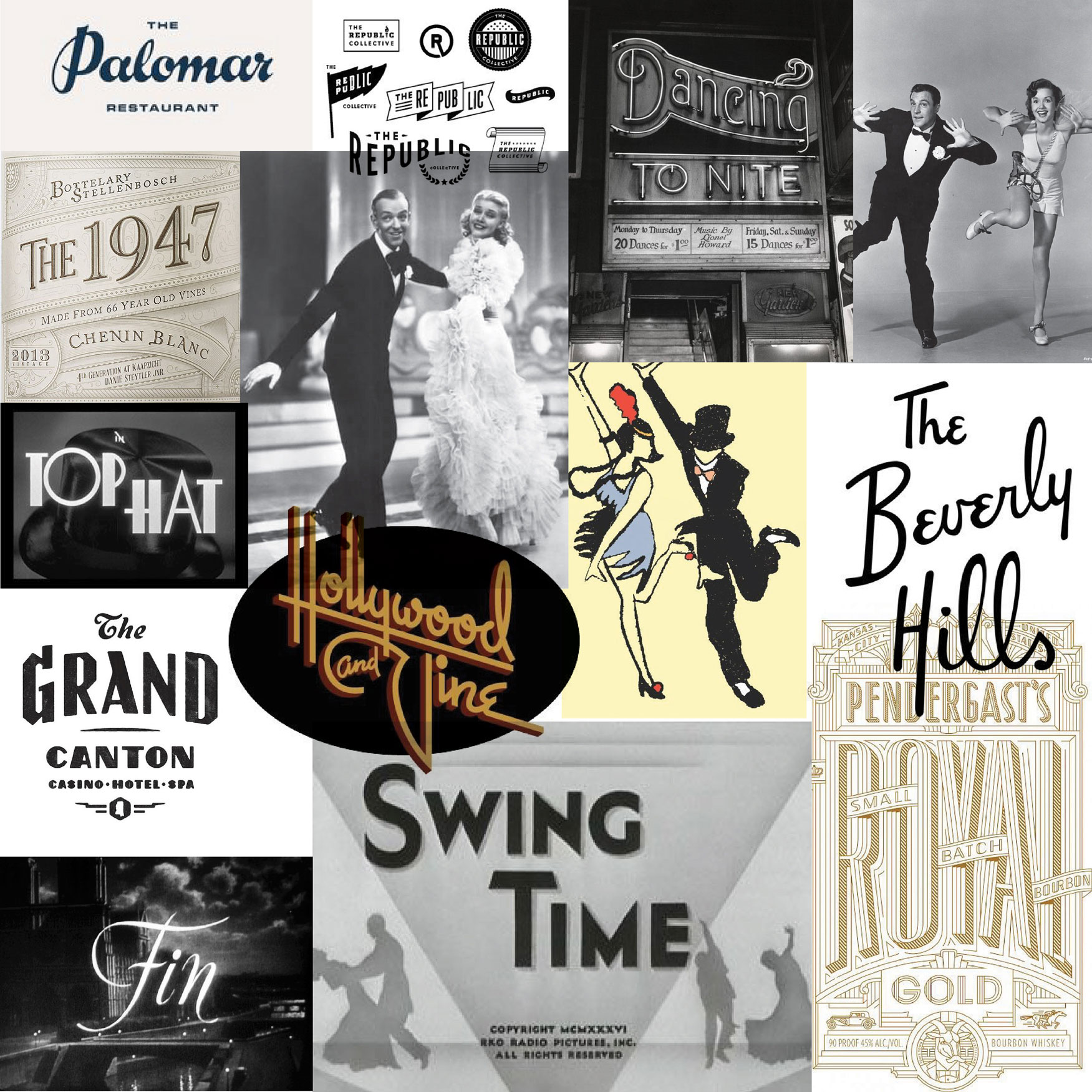 vintage glamour mood board aesthetic old Hollywood style