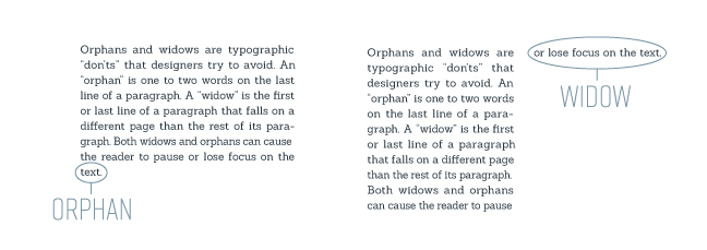 typography examples showing what is an orphan in typography and what is a widow in typography