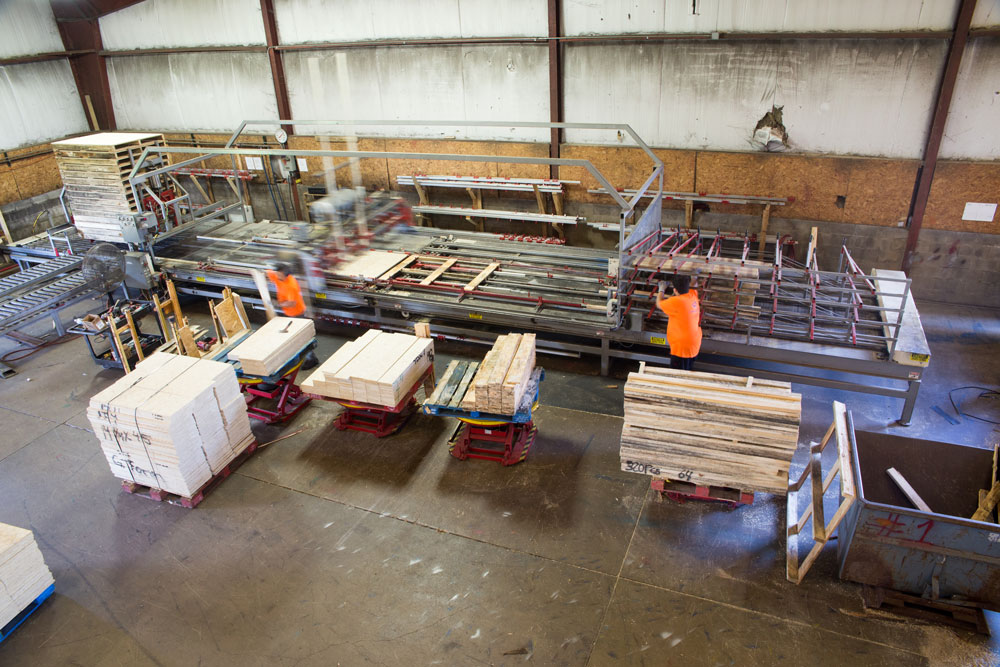 overhead custom photo of pallet machinery at lakeland pallets in Grand Rapids, Michigan