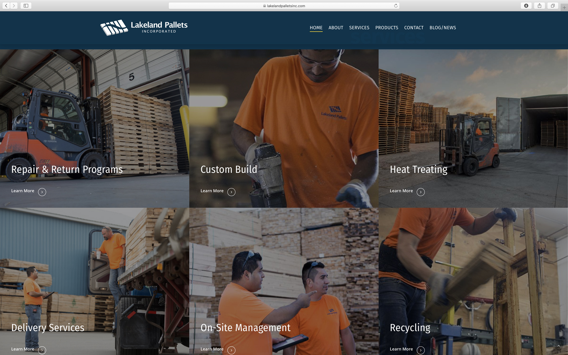 clean services website page design with high-quality, custom photography