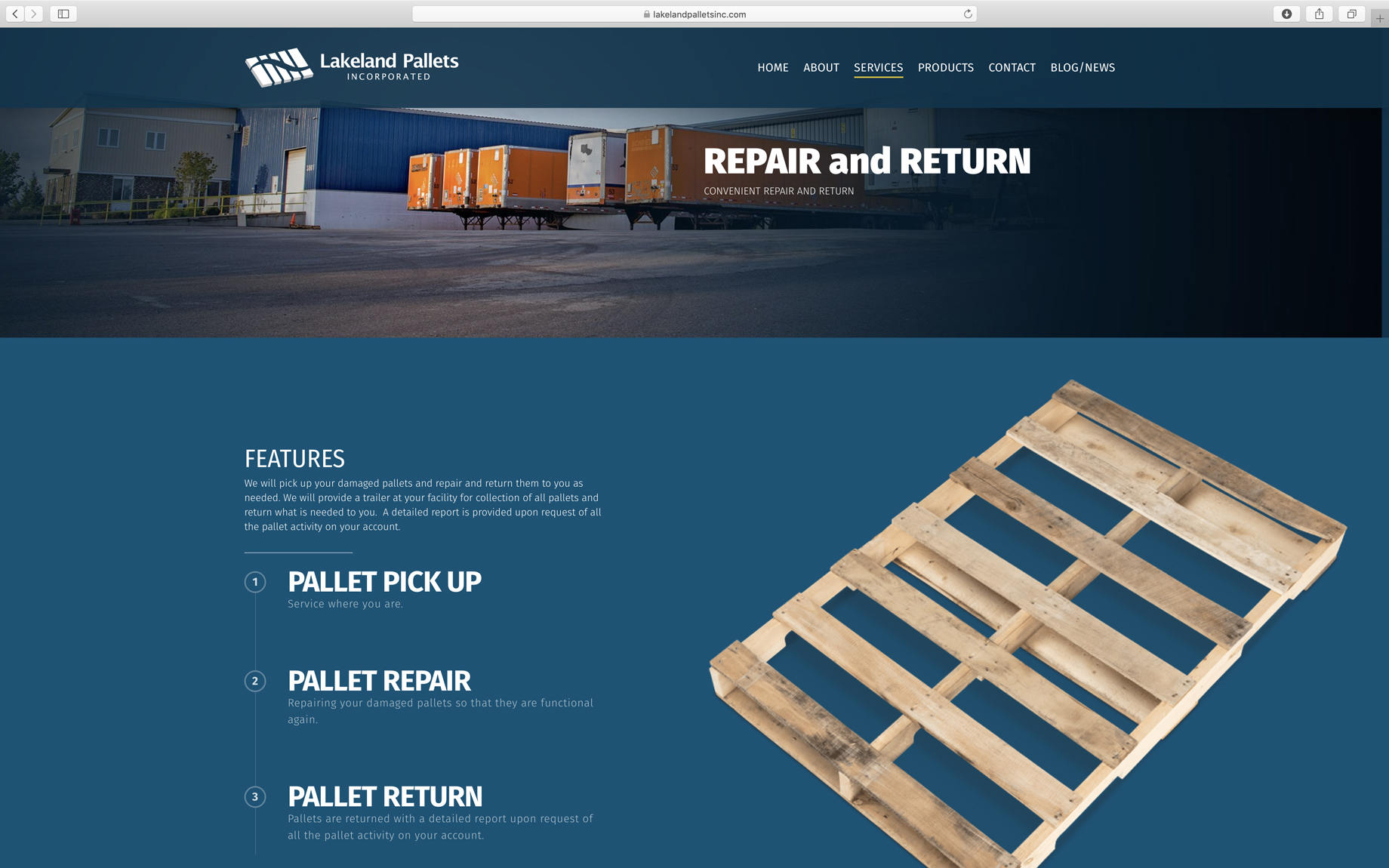 screenshot of clean industrial website design process page layout