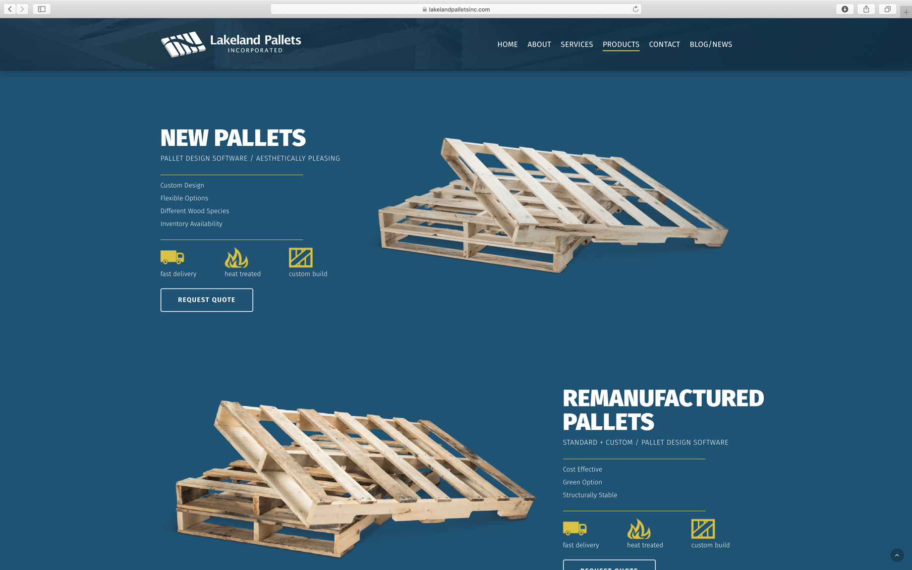 screenshot of clean industrial website design product page layout
