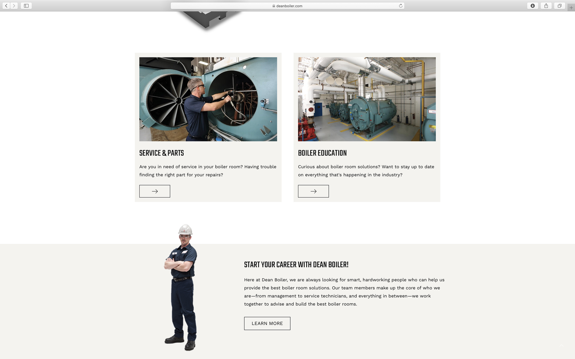 clean website page layout for dean boiler in Michigan