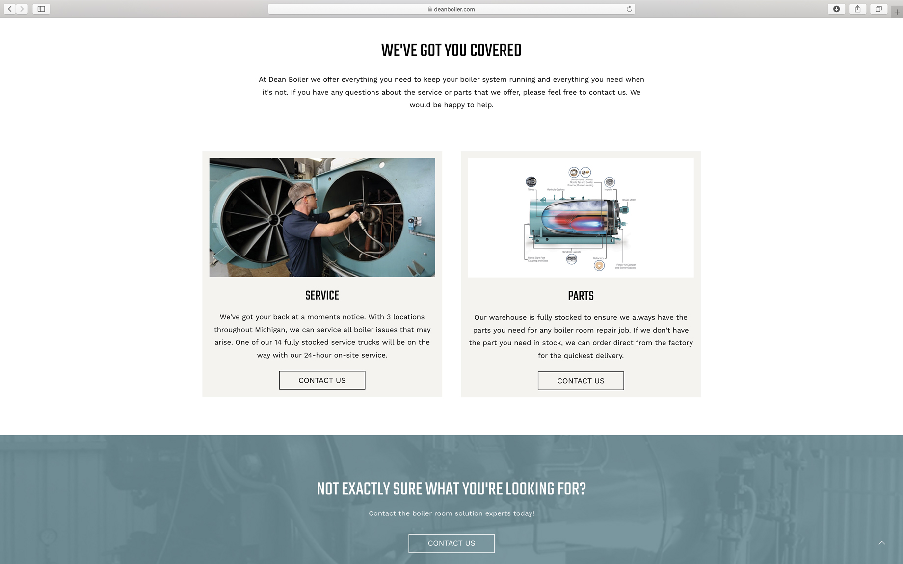 website page layout for dean boiler in Michigan
