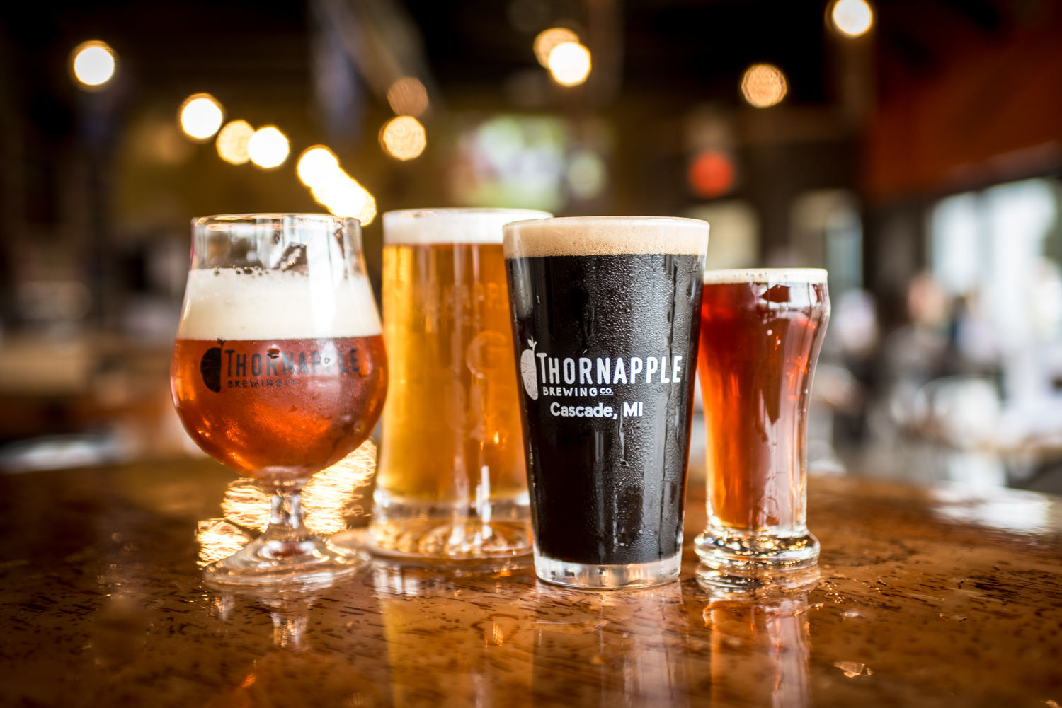 brewery logo design on beer glasses for thornapple brewing co in Grand Rapids, Michigan