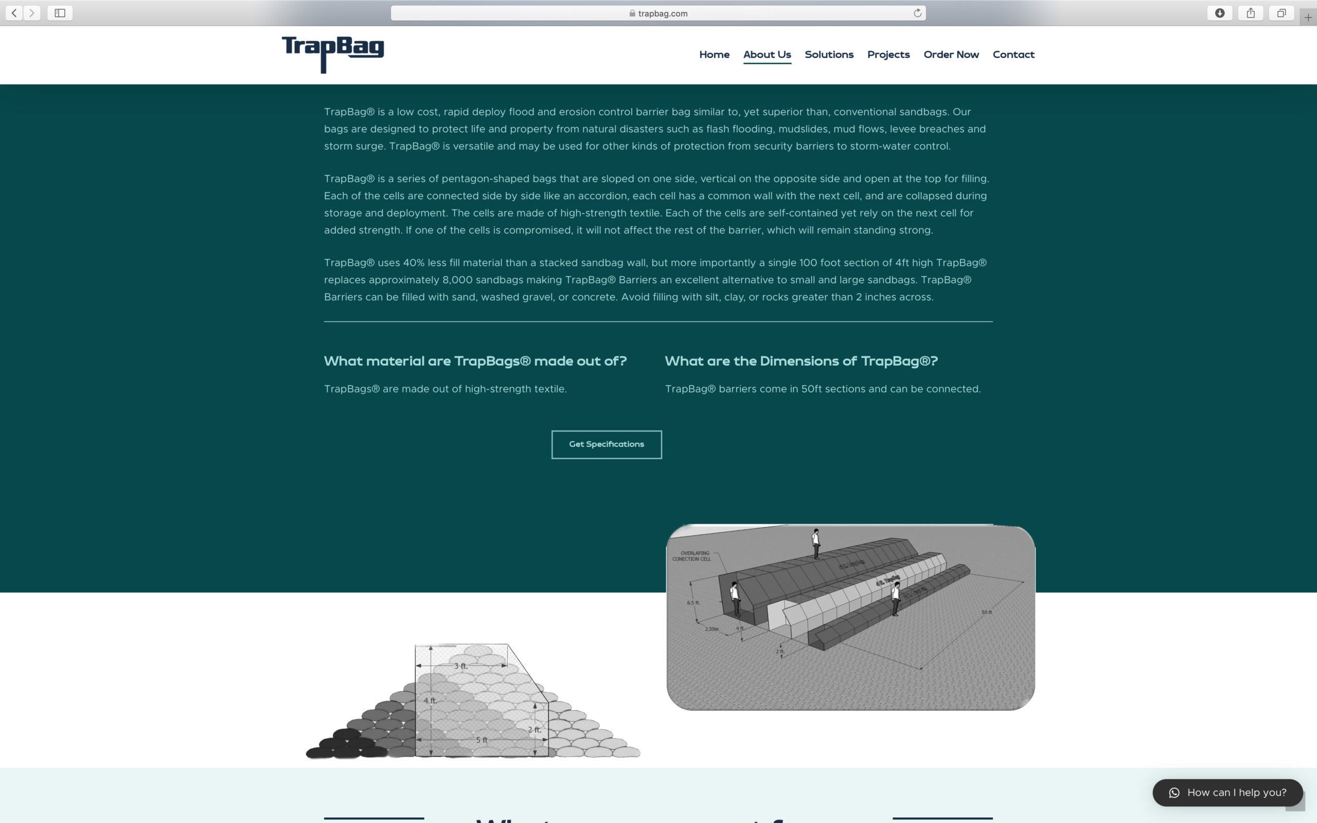 clean commerce website design with ecommerce for trap bag erosion solution