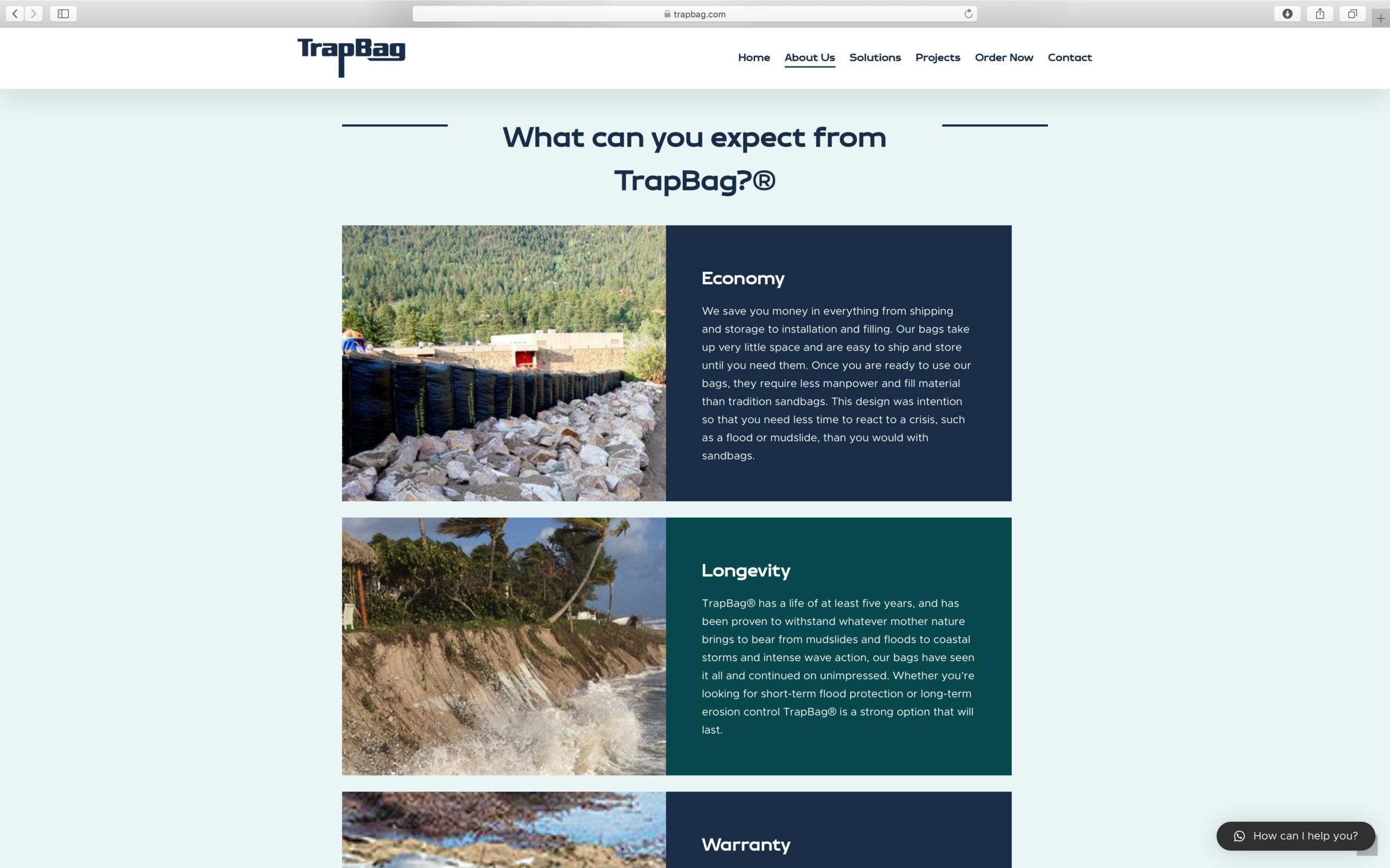 clean ecommerce website design for trapbag